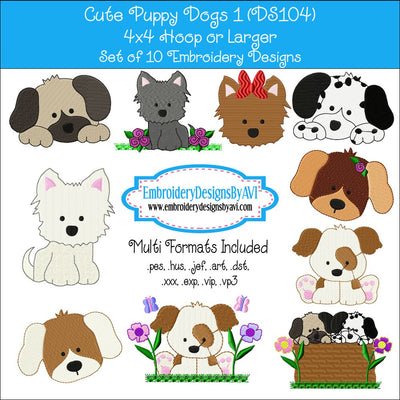 Puppy Dogs Embroidery Design Set