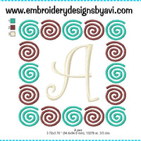 Curlz Swirls Embroidery Monogram Fonts Chart