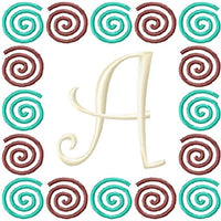Curlz Swirls Embroidery Monogram Fonts