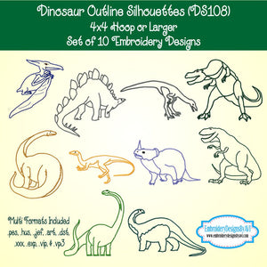 Dinosaur Outline Silhouette Embroidery Design Set Download