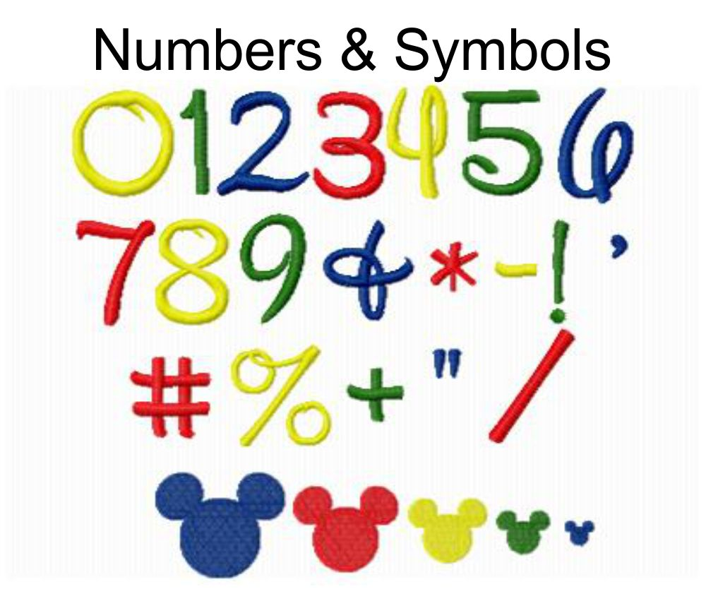 Disney Alphabet Monogram Fonts and Numbers Machine Embroidery Designs 3  Sizes Included