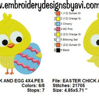 Easter Egg and Chick Machine Embroidery Design - Embroidery Designs By AVI
