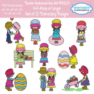 Easter Sunbonnet Sue Machine Embroidery Designs Set Download