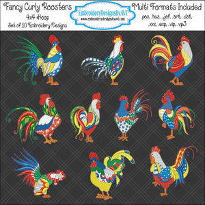 Fancy Curly Rooster Chicken Embroidery Design Set