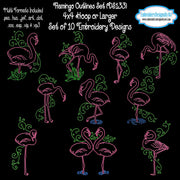 Flamingo Outlines Machine Embroidery Designs Download
