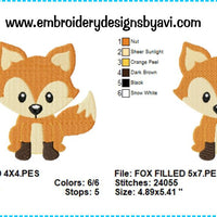 Fox Machine Embroidery Design Chart