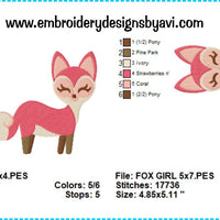 Fox girl embroidery design chart