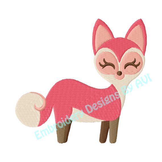 Fox girl embroidery design download