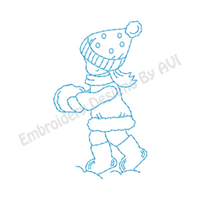 Free Sunbonnet Sue Winter Outline Machine Embroidery Design - Embroidery Designs By AVI