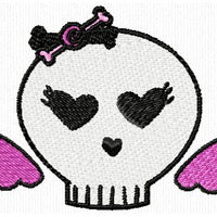 Girl Skull n Bones Star Crown Embroidery Design Set of 10 - Embroidery Designs By AVI