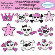 Girl Skull n Bones Embroidery Designs Set