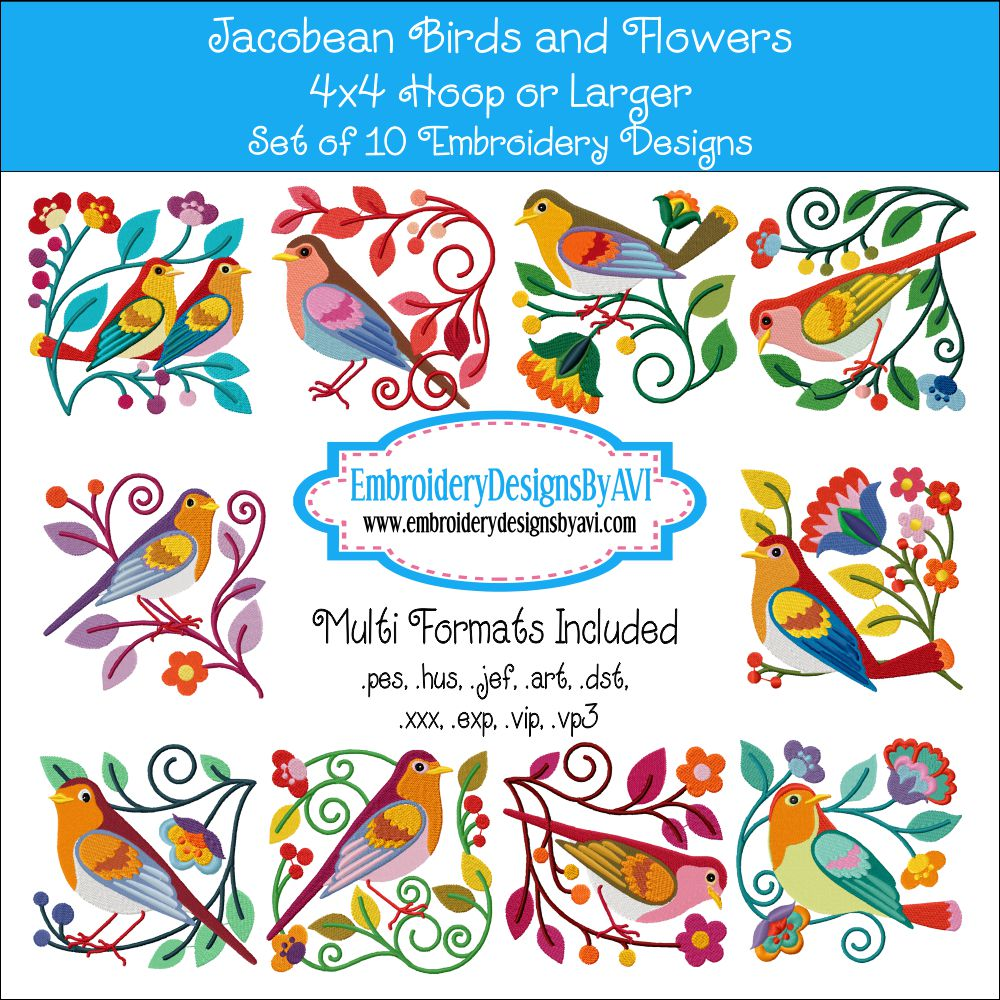 Jacobean Bird and Flower Embroidery Designs Set