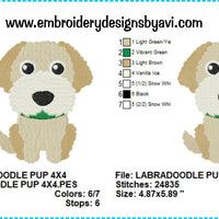 Labradoodle Puppy Dog Machine Embroidery Design Chart