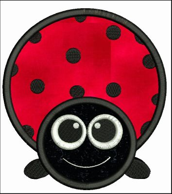 Big Eyed Ladybug Applique Machine Embroidery Design - Embroidery Designs By AVI