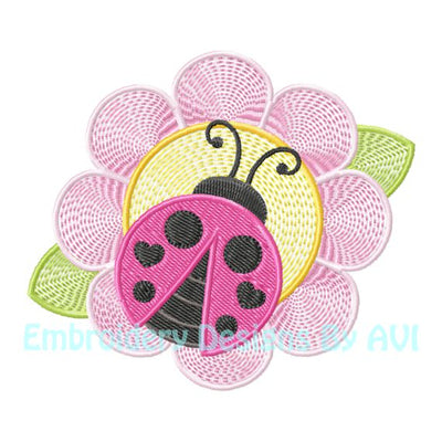 Ladybug lady bug on flower embroidery design download