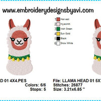 Llama Embroidery Design Chart