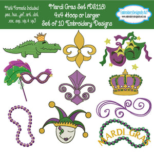Mardi Gras Embroidery Design Set Download