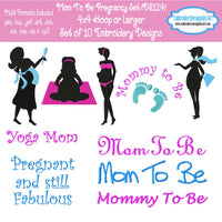 New Mom Mother Pregnant Machine Embroidery Designs Set Download