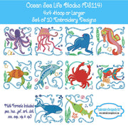 Ocean Sea Life Embroidery Design Set Download