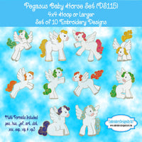 Pegasus Baby Horse Embroidery Design Set Download