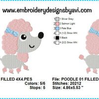 Poodle Embroidery Design Charts