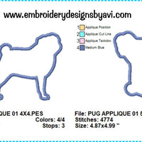 Pug Dog Applique Machine Embroidery Design Chart