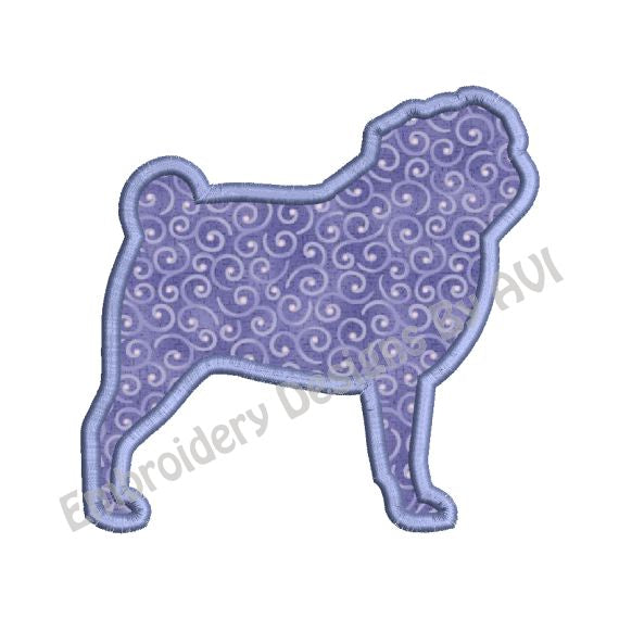 Pug Dog Applique Machine Embroidery Design
