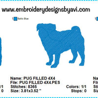 Pug Embroidery Design Charts