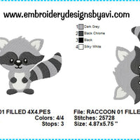 Raccoon Embroidery Design Charts