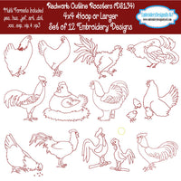 Redwork rooster embroidery designs