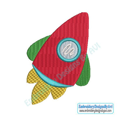 Rocket Ship Outer Space II Machine Embroidery Design
