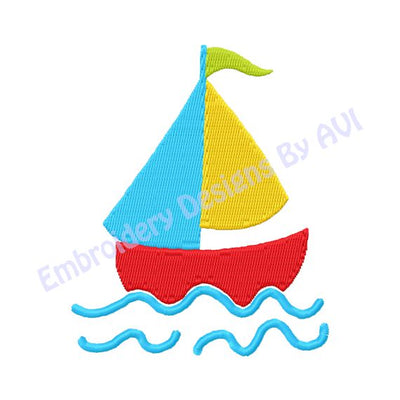Sailboat Sail Boat in Water Ocean Nautical Machine Embroidery Design - Embroidery Designs By AVI