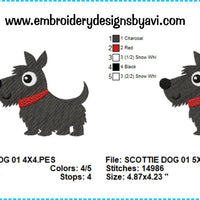 Scottish Terrier Scottie Dog Embroidery Design Charts