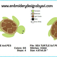 Sea Turtle Embroidery Design Charts