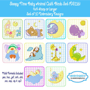 Baby Animal Quilt Block Embroidery Design Set Download