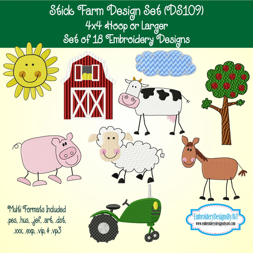 Farm Machine Embroidery Design Set Download