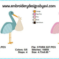 Stork Embroidery Design Charts