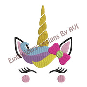 Unicorn Face Head Machine Embroidery Design - Embroidery Designs By AVI