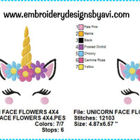 Unicorn Face Head II Flowers Machine Embroidery Design Chart