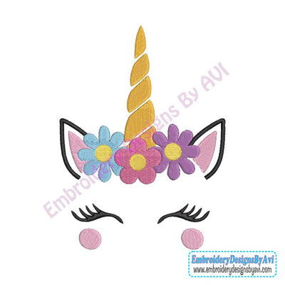 Unicorn Face Head II Flowers Machine Embroidery Design