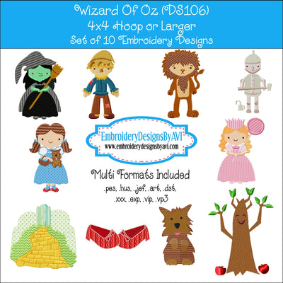 Wizard Of Oz Embroidery Design Set Download