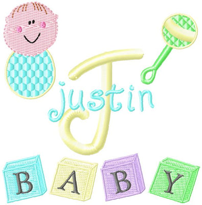 Baby Boy Embroidery Monogram Font CD or USB