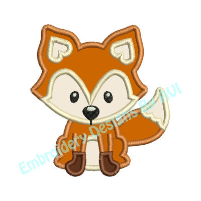 Fox Applique Machine Embroidery Designs 2 Sizes Included - Embroidery Designs By AVI