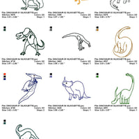 Dinosaur Outlines Silhoutte Machine Embroidery Designs - Set of 10 - Embroidery Designs By AVI