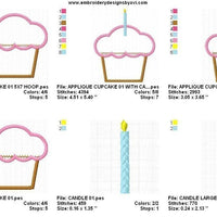 Birthday Cupcake with Candle Applique Machine Embroidery Design - Embroidery Designs By AVI