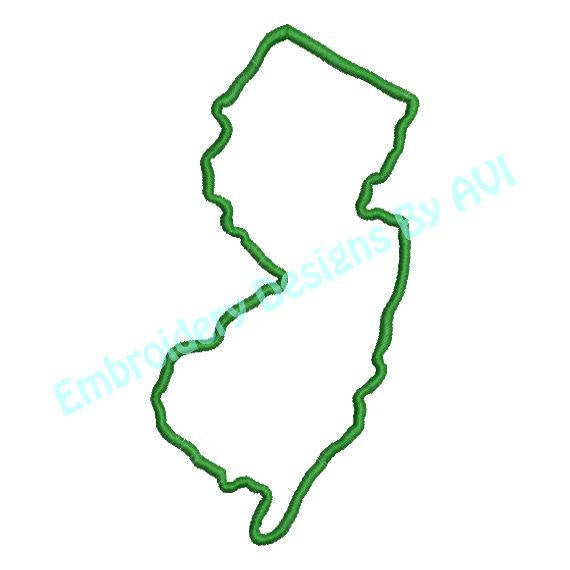New Jersey State Outline Machine Embroidery Design