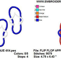 Flip Flops Applique Sandals Machine Embroidery Designs - Embroidery Designs By AVI