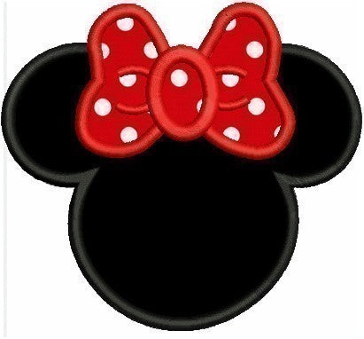Applique Minnie Mouse Machine Embroidery Design 3 Sizes Included