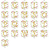 Polka Dot and Curlz Embroidery Monogram Font Set with Bonus - Embroidery Designs By AVI