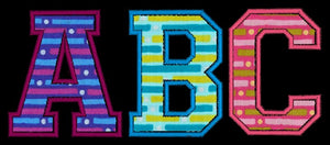 College Varsity Applique Machine Embroidery Monogram Fonts Designs - Embroidery Designs By AVI